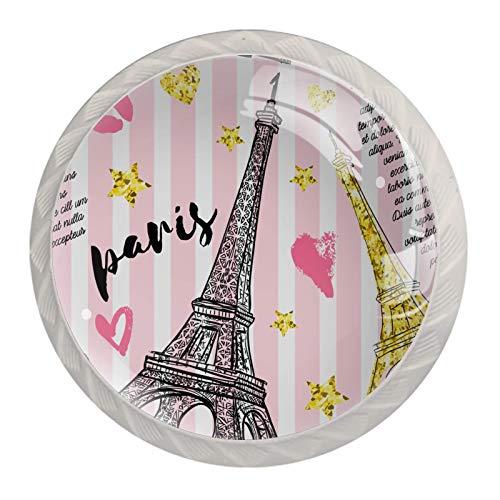 Pomos para cajón, armarios y mesitas de noche, diseño de Torre Eiffel rosa