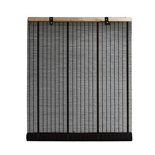 ZXXL Persiana Enrollables Bambú Persianas Enrollables Serie Hook Up, Cortinas Enrollables de Bambú Negro para Interior/Exterior, Cortina Enrollable para Ventana con Accesorios, Fácil de Montar