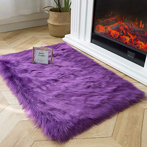Ashler Soft Faux Sheepskin Fur Chair Couch Cover Area Rug for Bedroom Floor Sofa Living Room Purple Rectangle 2 x 3 Feet