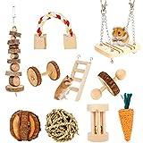 SUSSURRO Hamster Kauspielzeug, 10 Stück Natürliches Kiefernholz aus Holz Übung Glockenrolle Zahnpflege Molar Backenzahnspielzeug für Hamster, Eichhörnchen, Meerschweinchen