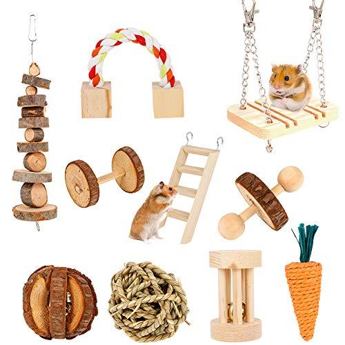 SUSSURRO 10 Stück Hamster Kauspielzeug Kleine Haustiere kauen Spielzeug Natürliche Kiefernholz Kauspielzeug, Holz-Hanteln, Übungsglocke, Zahnpflege, Molar Spielzeug für Kaninchen, Vögel, Häschen