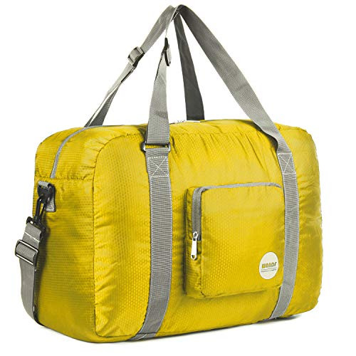 WANDF Foldable Travel Duffel Bag Luggage Sports Gym Water Resistant Nylon (Yellow, 40L)