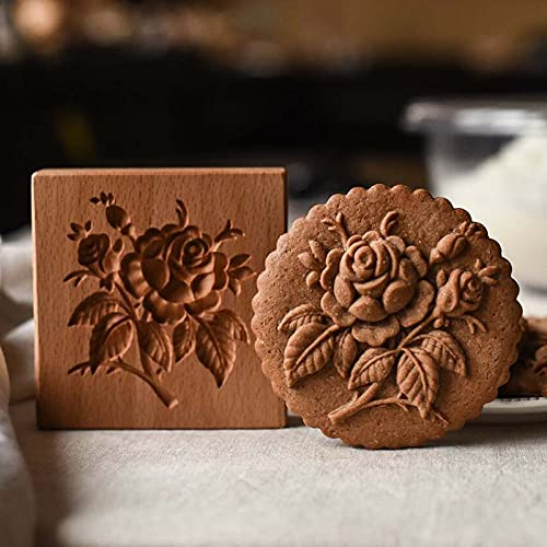 Cookie Molds, Funny Wooden Cookie Molds for Baking, Gingerbread Cookie Mold, Pine Cones Provence Rose Cookie Cutter, for Cookie Stamp Embossing Craft Decorating Baking Tool