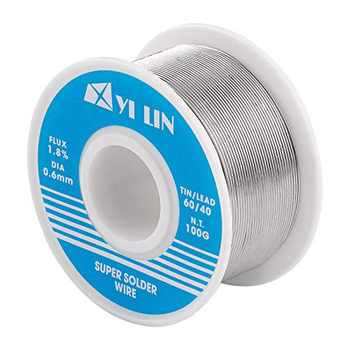 YI LIN 60/40 Solder 0.6mm Tin Lead Rosin Core Solder Wire For Electrical Soldering (100g/0.22lbs)