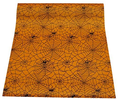 khevga tafelband tafelloper rol Halloween satijn oranje zwart 36 cm x 9 m Spinnenweb.