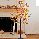 FORUP LED Lighted Maple Tree, 4 FT Lighted Artificial Tree for Thanksgiving Harvest Fall Festival Halloween Home Party Decoration