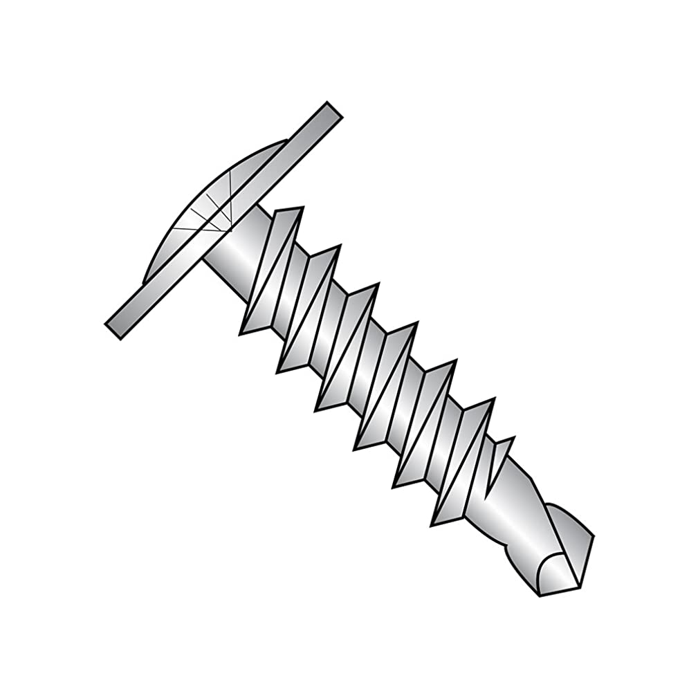18-8 Stainless Steel Self-Drilling Screw, Plain Finish, Modified Truss Head, Phillips Drive, #2 Drill Point, #8-18 Thread Size, 1