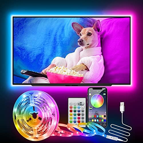 LED TV Retroilluminazione, CGN 2.5M USB Striscia LED RGB Bluetooth con App Control e con Tasti Telecomando IR Music Bar Decorativo per 32-60 Pollici Televisione, Monitor del PC