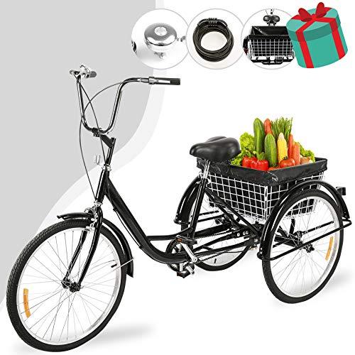 """Z ZELUS 24"""" Triciclo para Adultos Bicicleta de Tres Rueda con Capacidad de 100 kg Triciclo con Cesta Adult Tricycle para IR a Hacer Compra, Deporte, Picnic (Negro)"""