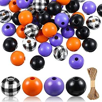 200 Pieces Halloween Wood Round Beads Plaid Woo...