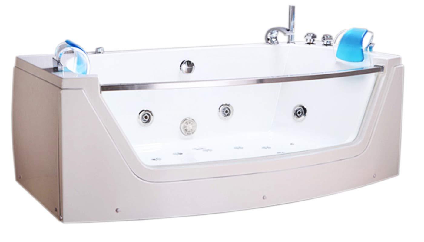 WHIRLPOOL JACUZZI SPA CORNER BATH DOUBLE PILLOW 120 x 180cm BATHTUB M LUNA