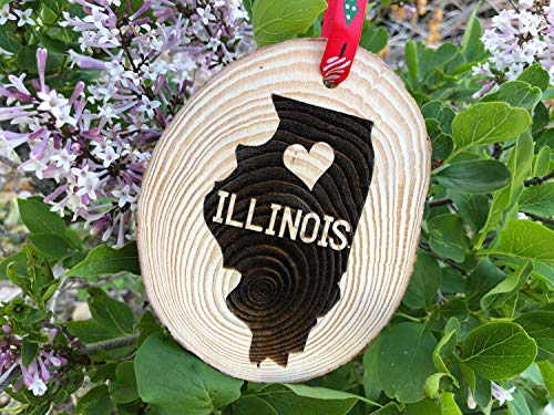 Leoner22art Wooden Christmas Ornament Illinois Personalized Gift Handmade Wood Slice Chicago Windy City Bears Cubs Bulls Land of Lincoln Sox