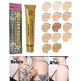 Tattoo Cover Concealer - Taches professionnelles Crème Base Visage Corps Yeux Contouring Liquide Fond de Teint Contrôle de l'Huile Maquillage Imperméable (208#)