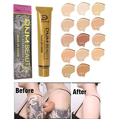 Tattoo Cover Concealer - Taches professionnelles Crème Base Visage Corps Yeux Contouring Liquide Fond de Teint Contrôle de l'Huile Maquillage Imperméable (215#)