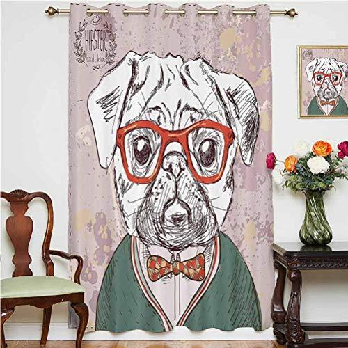 Cortinas de sombra para amantes de los perros, diseño vintage con gafas rojas y ojales para maestro del profesor, panel individual de 160 x 183 cm, para puerta corredera