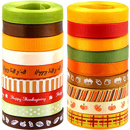 Fall Ribbons Thanksgiving Grosgrain Ribbons for Crafts Gift Wrapping Satin 18 Rolls