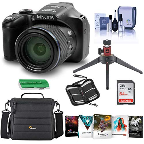Minolta MN67Z 20MP FHD Wi-Fi Bridge Camera with 67x Optical Zoom, Black - Bundle with Camera Case, 64GB SDHC Memory Card, Table Top Tripod, Memory Wallet, Cleaning Kit, Card Reader, Software Package