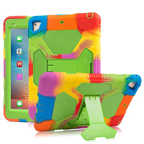 iPad 9.7 Case 2018/2017 iPad Air 2 Case iPad 6th/5th Generation Case with Adjustable Kickstand Hybrid Three Layer Heavy Duty Kids Case with Shockproof for iPad Pro 9.7(2016) (Rainbow Green)