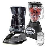 Combo de 4 elementos Negro Oster Licuadora + cafetera+ plancha + vaso
