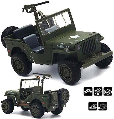 Zhangl RC Car, 4x4 Vehículo de juguete Diecast Metal Modelo del vehículo militar de modelo a escala 1:32 rastreadores Ejército Simular TruckMulti de uso fuera de carretera con Sonido y luz LED for Niñ