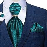 SKREOJF Hombres Vintage Treal Blue Body Formal Cravat British Style Gentleman Silk Silk Cuello Corbata Hanky Anillo Set (Color : Teal Blue, Size : One Size)