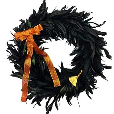 "Bestroyal Black Feather Wreath, 16"" Hallowe..."