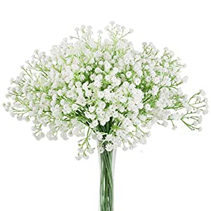 Aonewoe Baby Breath Artificial Flowers 24 Pcs Realistic Gypsophila Bouquets for Wedding Party Home Decoration(24Pcs,White)