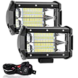 Willpower 5インチ 72W LED作業灯 ワイヤーハーネス付き 投光器 12v/24v 兼用 防水 防塵 防震 取付け自由 省エネルギー バックライト コンボビーム 除雪機 重機 船舶 各種作業車対応(2個セット 1年保証)