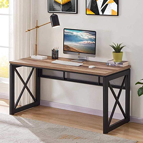 TEKAVO – Industrial/Office Computer Desk Wood and Metal, Writing Gaming Desk-RB (120x60x76 cm)