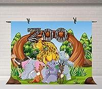 HD漫画サファリ背景動物園誕生日パーティーの背景ケーキテーブル用品装飾バナースタジオ小道具10x7ft BJDSFU94