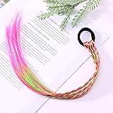 三つ編み 編み込み メッシュ エクステ エクステンション ヘアエクステ カラフル ウィッグ キッズ 髪 髪の毛 付け髪 (ピンク M)