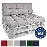 Beautissu ECO Style Coussins pour Canape Euro Palette - Assise, Banquette - 120x80x15 cm - Gris Clair