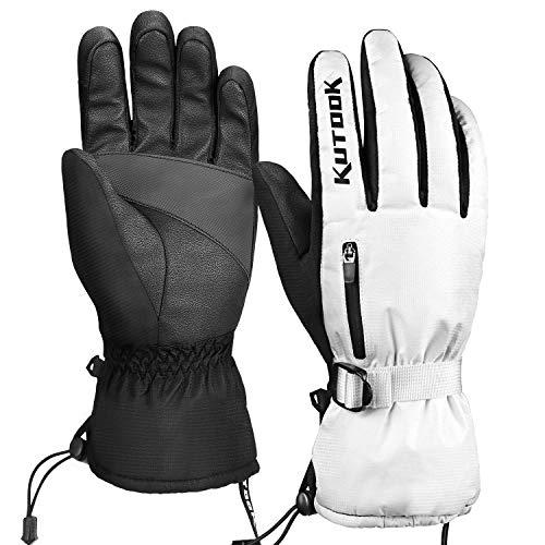 KUTOOK Guantes Esquí Calentitos Impermeables para Hombre Y Mujer, Guantes Snowboard Tactiles Guantes Nieve Invierno para Moto(Blanco-S)