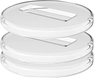 Roladion Grand Piano Caster Cups, 4 Inches Elegant Clear Plastic Rug Floor Protector Set of 3, Transparent Polished Round ...