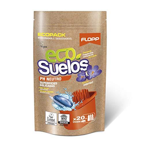 Flopp - Friegasuelos Ecológico Suelos Ph Neutro, 20 Cápsulas | Fregasuelos Eco, Limpiapisos, Limpiador de Suelos Eco Limpia sin Ensuciar el Planeta.