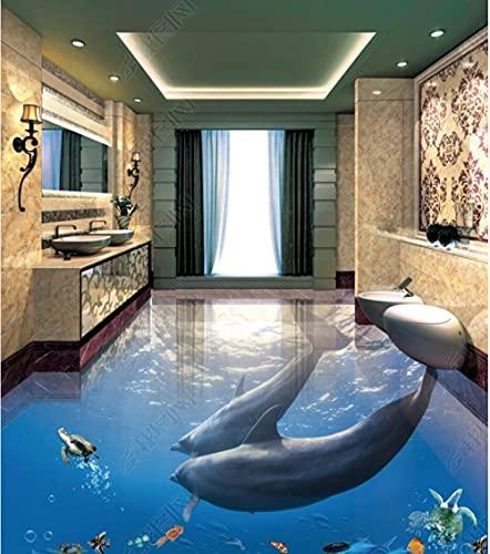 Baldosas de suelo elevadas 3D Vinilo para papel tapiz de sueloDolphin Underwater World 3D Estéreo Baño Sala de estar Piso de baldosas-350 * 245 Cm Sala de estar Cocina Baño