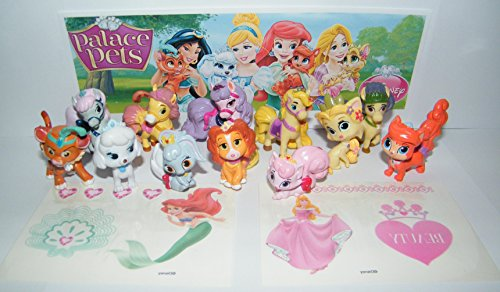 Disney Princess Palace Pets Set of 12 Mini Figures and Special Temporary Tattoos featuring Puppies, Kittens and Ponies
