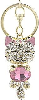 JewelBeauty Cute Kitten Sparkling Keychain Blingbling Pink Crystal Rhinestone Handbag Charm for Cat Animal Lovers Diamond Kitty Key Ring/Chain Holder Purse Car Hanging Pendant Decoration Gift