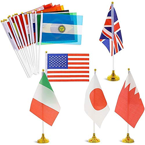 Juvale International World Country 21 x 13.9 cm Desk Flags with 30 cm Stands (24 Pack)