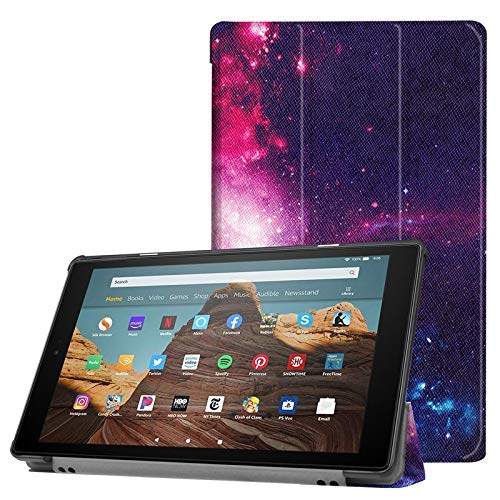 wangqianli For All-New Amazon Fire HD 10 Tablet (7th Generation And 9th Generation, 2017 And 2019 Release) PU Leather Trifold Stand Cover With Auto Wake/Sleep - (Color : 7)