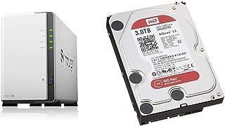 【NASキット】Synology DiskStation DS218j [2ベイ /  デュアルコアCPU搭載 / 512MBメモリ搭載] 多用途な初心者向け & Western Digital HDD 内蔵ハードディスク 3.5インチ 3TB WD Red NAS用 WD30EFRX 5400rpm 3年保証