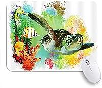 MISCERY マウスパッド ウミガメの水彩画の海の動物魚のカメクラゲと海底サンゴの世界 高級感 おしゃれ 防水 端ステッチ 耐久性が良い 滑らかな表面 滑り止めゴム底 24cmx20cm