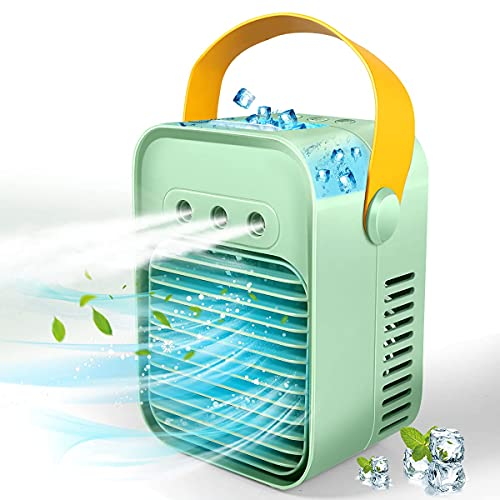 Portable Air Conditioner, Anti-Leak Rechargeable Evaporative Air Cooler with 3 Speeds 7 Colors, Personal Space Cooler for Rooms, Offices, Campers, Indoor