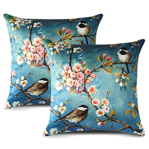 Artscope Cozy - Juego de 2 fundas de almohada de seda satinada, diseño de pájaros clásicos, fundas de cojín para sofá, decoración del hogar, 45,7 x 45,7 cm