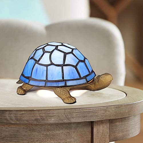 "Blue Tiffany Shell 3"" HIgh Turtle Accent LED Lamp"