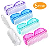 Handle Grip Nail Brush, Senignol 4+1 Pieces Hand Fingernail Brush Cleaner Scrubbing Kit for Toes and Nails Men Women (Multicolor)