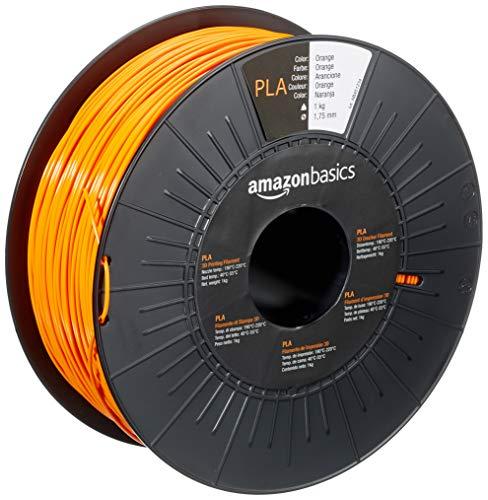 AmazonBasics - Filamento per stampanti 3D, in polilattato (PLA), 1,75mm, arancione, 1 kg per bobina