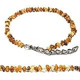Bernstein Halsband für Hunde und Katzen mit Metallkette, natürliches Schutzmittel. Bernsteinkette von AmberNeck (30-35 cm)