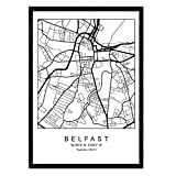 Nacnic Blatt Belfast Stadtkarte im nordischen Stil schwarz