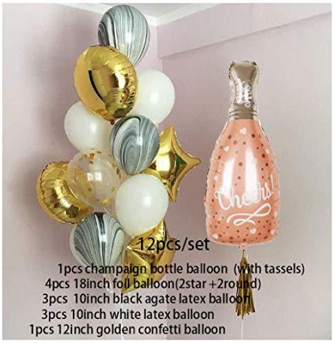 globos Botella de whisky Champaign Globo de lámina de estrella dorada Metal Globo de látex plateado dorado Fiesta de cumpleaños Decoración de boda Bolas de helio-style6